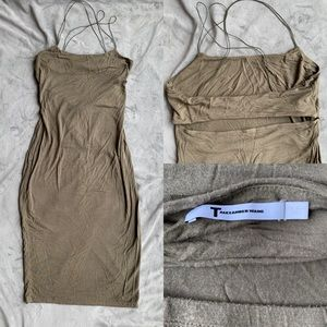Alexander Wang Khaki midi back cut out dress